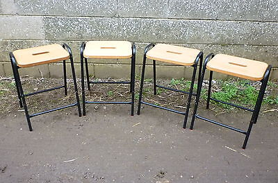 Industrial stacking school cafe laboratory bar stools x 4 used