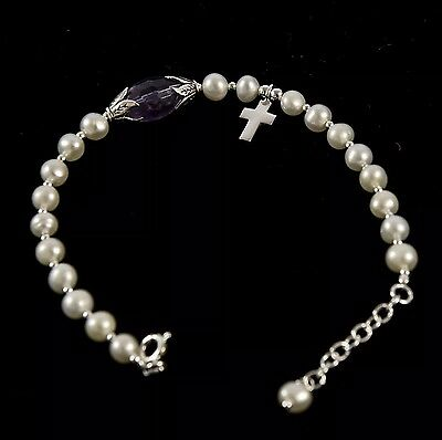 Freshwater pearl bracelet With A Lovely Oval Amethyst And Sterling Silver Cross