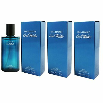 Davidoff Cool Water Man - Men 3 x 75 ml Deospray Deo Spray Mild Deodorant Set