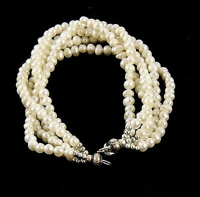 5 Strands Of Freshwater Pearls Bracelet, Antique Finish Sterling Silver Clasp