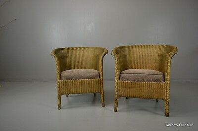 Pair Lusty Lloyd Loom Gold Armchairs