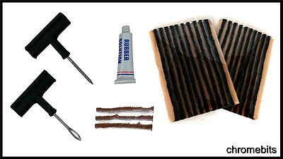 Tubeless Tyre Repair Puncture Kit Tool Plug Set Car Bike Quad + 23 Strips
