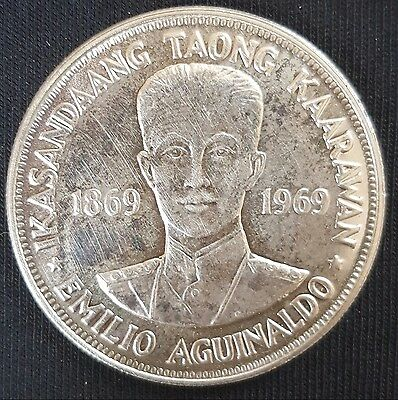 1969 Philippines 1 Piso (Crown Size) Silver Coin Birth of Aguinaldo  UNC......