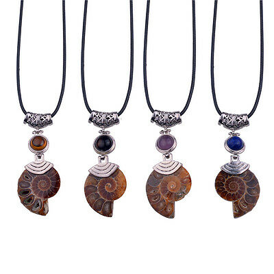 Natural Crystal Stone Bead Madagascar  Ammonite Fossil Healing Pendant Necklace