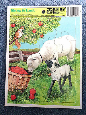Vintage 1983 Sheep & Lamb Golden Frame Tray Puzzle Ages 3-7