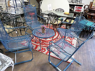Salterini Patio Spring Chairs & Round Coffee table French Blue