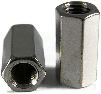 Stainless Steel Coupling Nuts, Threaded Rod UNF,  5/16-24 X 7/16 x 1, Qty 1