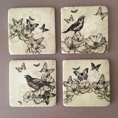 French Shabby Chic Style Ceramic Coasters set of 4 Vintage Bird & Butterfly