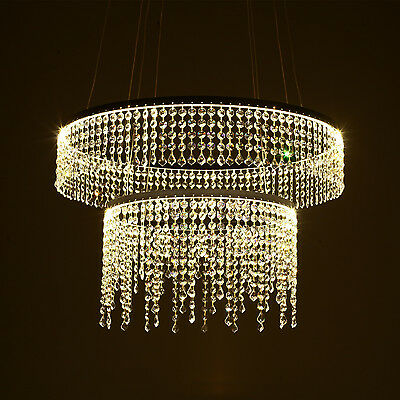 60W LED Crystal Chandelier Pendant Light Warm White High Color Rending Two Tiers