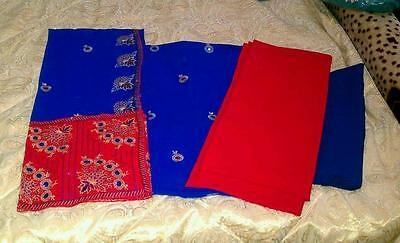 Red and blue fancy 4 piece loose fabric suite