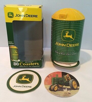 NIB John Deere W/ 80 Absorbant Drink Coasters In Metal Storage Dispenser New