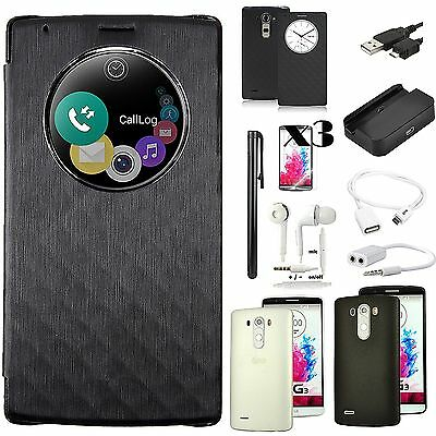 Black View Flip Leather Case Cover Charger OTG Cable Accessory For LG G3