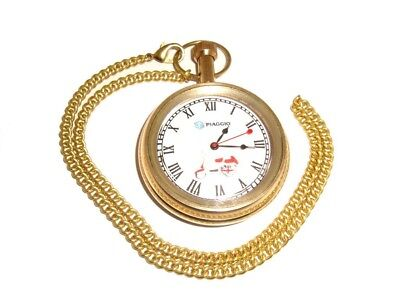 Brand New Piaggio Vespa Scooter Golden Brass Pocket Watch + Chain