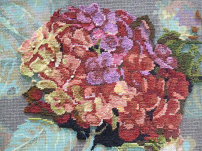 Part completed Dimensions wool needlepoint tapestry canvas kit Hydrangea Bloom