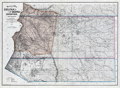 1889 Map of Colfax and Mora County New Mexico