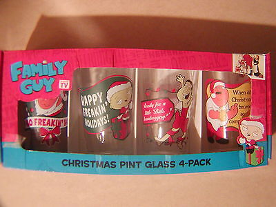 THE FAMILY GUY Christmas Pint Glasses 4 Pack Stewie Peter Quagmire 2010