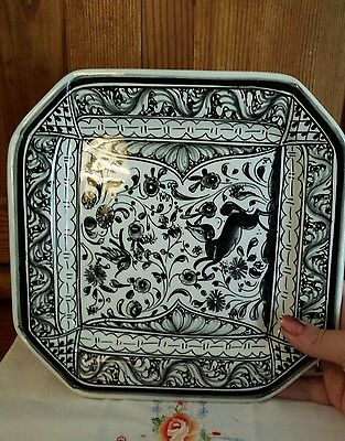 Hand-painted Portugal signed black & white ceramic glazed floral & animal plate