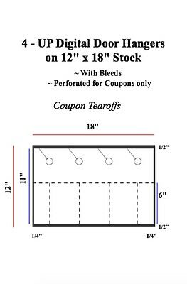 4 UP Digital Coupon Door Hangers on 12 x 18 Stock: Non - Perf