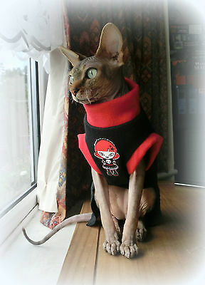 adult GIRL  goth Sphynx cat clothes , sweater for a cat, pet clothes
