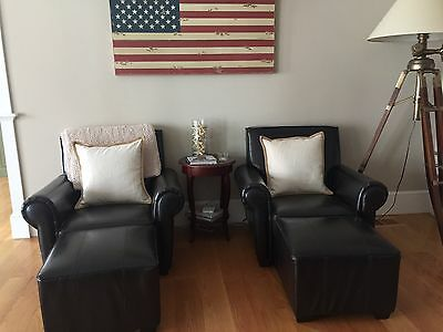 leather arm chairs and ottomans