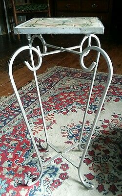 VINTAGE Wrought Iron Ornate Ceramic Tile Table Plant Stand