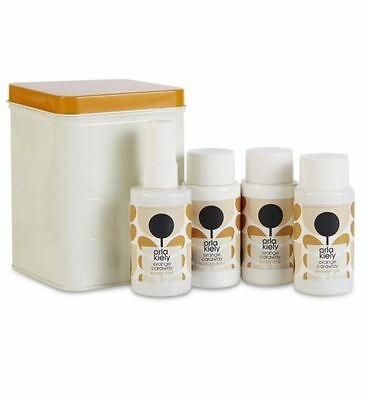 Orla Kiely Orange Caraway Minis Tin Includes 4 x 75ml Bath & Body Items