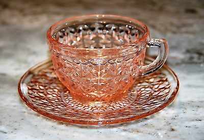 Jeannette Glass Buttons & Bows Holiday Pink Cup and Saucer Set