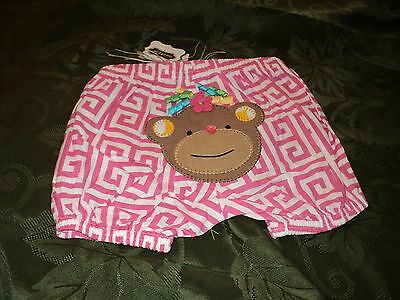 Mud Pie Baby Girl Safari Diaper Cover Pink with Monkey Applique   NEW