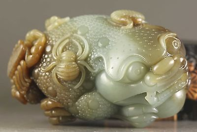 Chinese old natural hetian jade hand-carved dragon statue pixiu 貔貅 NO.W879
