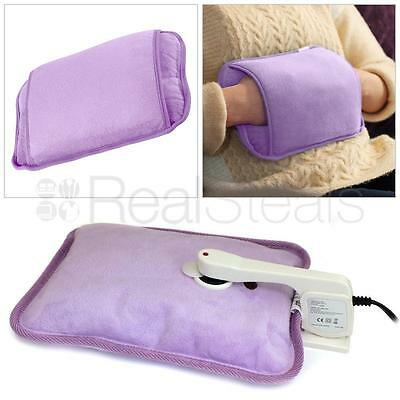 Purple Rechargeable Electric Hot Water Bottle Bed Hand Warmer Massaging Heat Pad