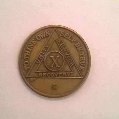 Alcoholic Anonymous 10 Year AA Medallion Coin Serenity Token Recovery Anniversar