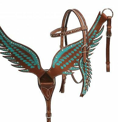 Teal Handpainted Angel Wing Design Western Horse Bridle & Breast Collar Set