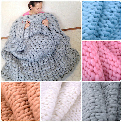 Large Fashion Chunky Hand Knitting Blanket Merino Wool Thick Line Home Bedding