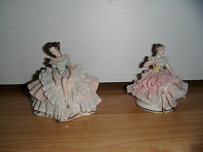 """Pair of Dresden Lace Porcelain 3.5"""" Figures ~ Germany ~ Gorgeous"""