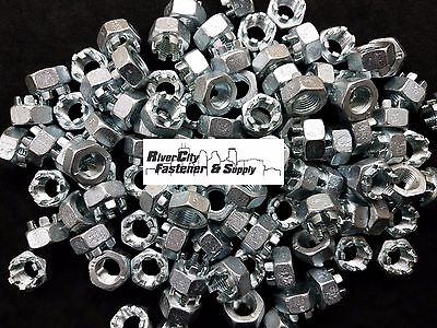 (5) M14-1.5 Slotted Hex Castle Nut Zinc Plated 14mm Fine Thread nuts