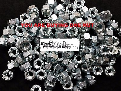 (1) M14-1.5 Slotted Hex Castle Nut Zinc Plated 14mm Fine Thread nuts