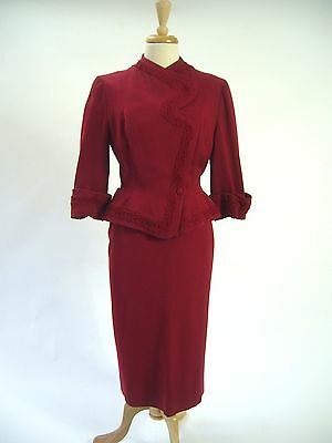STRIKING 1940s Couture Red Curly Lamb Jacket BOMBSHELL Pinup Wiggle Suit