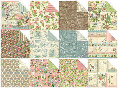 12 Sheets of Graphic 45 Botanical Tea Double Sided Scrapbooking Paper Vintage