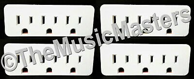 4X Grounded 3 Outlet Triple AC Wall Plug Power Splitter 3-Way Electric Adapter