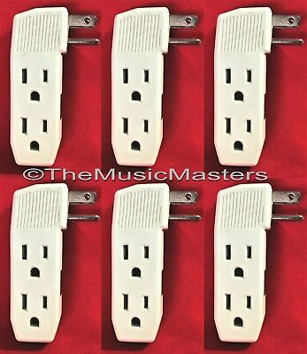 6X Triple 3 Outlet Grounded AC Wall Plug Power Splitter 3-Way Electrical Adapter