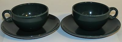 Two Vintage Russel Wright Iroquois Parsley Green Cup & Saucer Sets