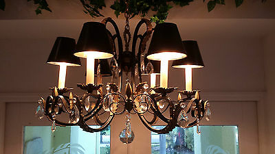 Vintage Black Iron/brass 6 Lt Neo Class. Chandelier With Crystal Prisms W/shades