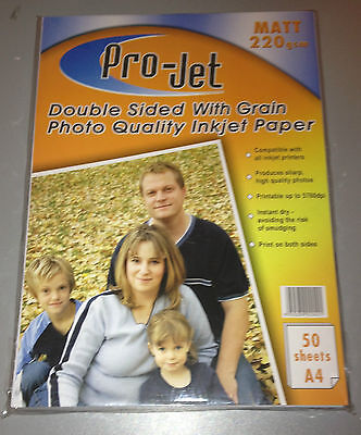 200 SHEETS PROJET DOUBLE SIDED MATT PHOTO PAPER WITH GRAIN A4 220gsm