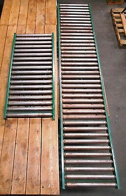 Lot of 2 Heavy Duty Gravity Roller Conveyors -- 10' & 4 1/2'