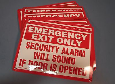 Lot 9 Emedco 40670BBHPLYPLA Plastic Emergency Exit Only Securty Alarm Sign NWOB