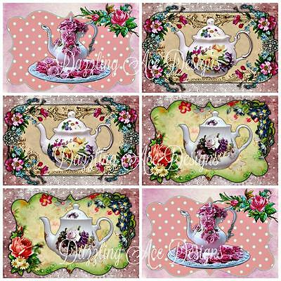12 Vintage Teapots....Ideal for Toppers, Embellishments, Card Making, Crafting