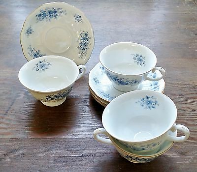 Favolina Blue Dahlia Four Footed Cup And Saucer Sets Poland Flower Floral