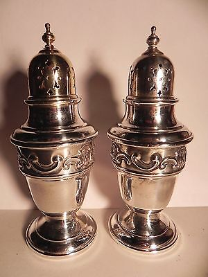 "Gorham Sterling Silver Strasbourg #1138 Salt & Pepper Shakers 4-1/2"" EXC COND!"