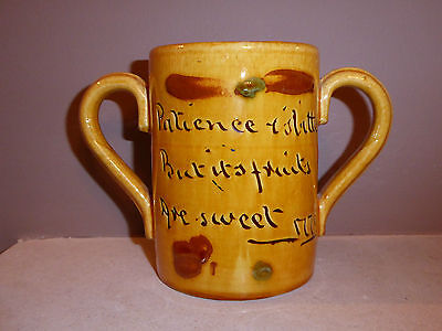Exeter Art Pottery twin handled mug with motto 1891-1896  excellent condition