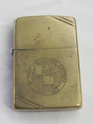 Rare Brass Zippo Lighter 1932 1982 Commemorative Bradford PA 50 Years & Glowing
